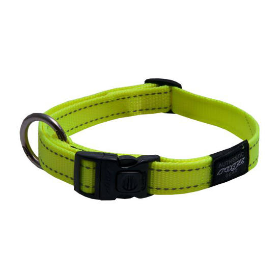 Rogz Side Release Dog Collar - Utility with Reflective Stitching - Dayglo - Various Sizes