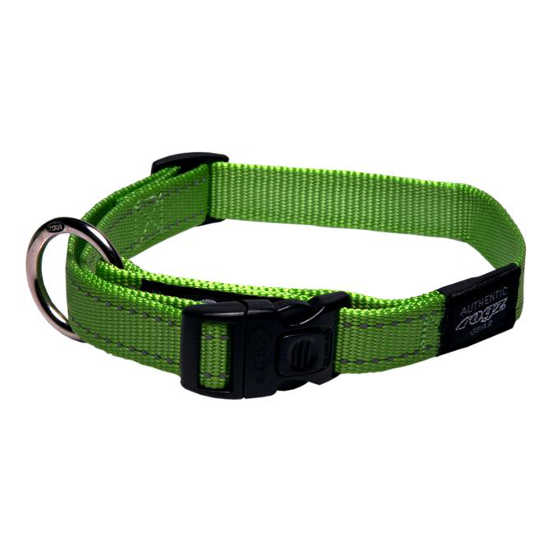 Rogz Side Release Dog Collar - Utility with Reflective Stitching - Lime - Various Sizes