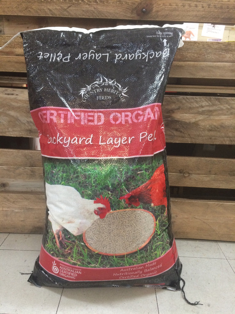 Country Heritage Feeds- Organic Backyard layer pellets- Chook food 20kg