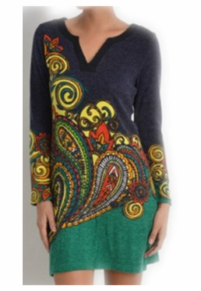 Paisley Green Knit Dress