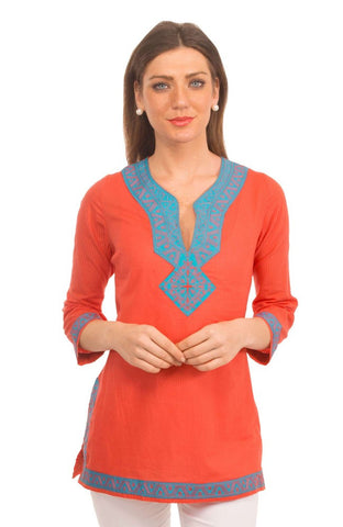 Embroidered Tunic Lagoon