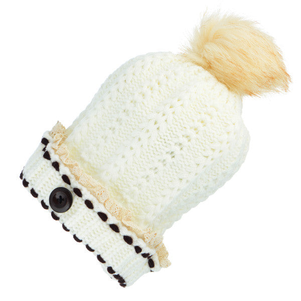 Hat toboggan Fur Ball Cream knit