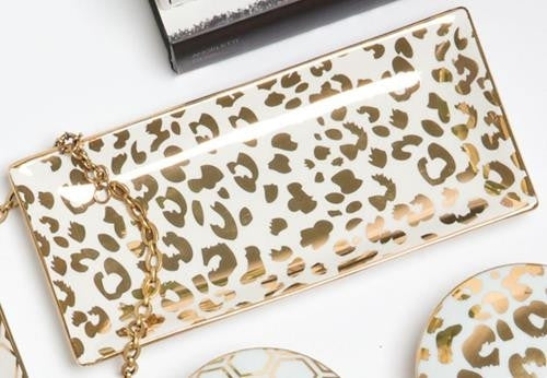 Rectangle Gold Leopard Tray
