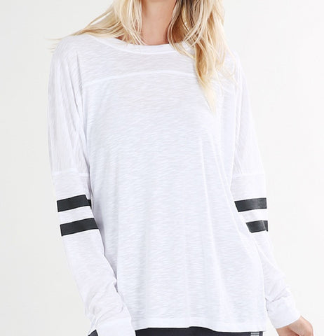 White Open-Back Striped Top