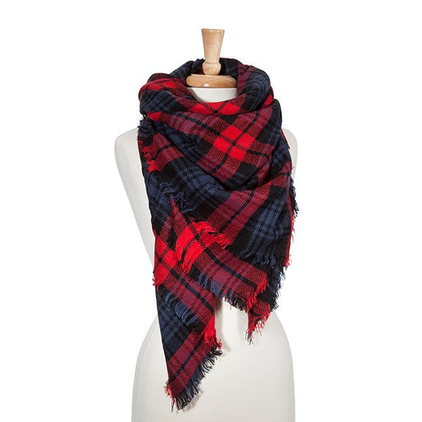 Blanket Scarf- Red/Navy