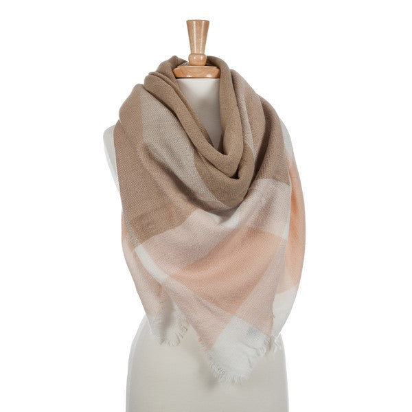 Blanket scarf-Taupe, pink, and white
