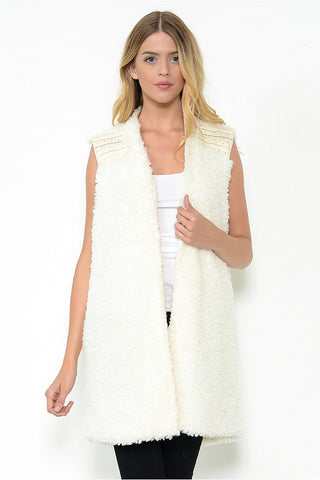 Embroidered Fur Vest