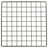 Black 14 inch x 14 inch Plastic Coated Wire Miniature Grid Panel with 1.5 inch Squares for Business or Home Use
