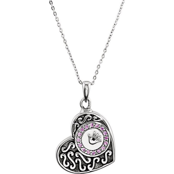 Sterling Silver Hand-prints Girl Ash Holder Necklace With Pink CZ