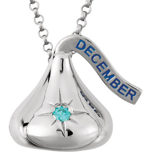 Sterling Silver 925 HERSHEY'S KISSES December Imitation Birthstone CZ Neckla...