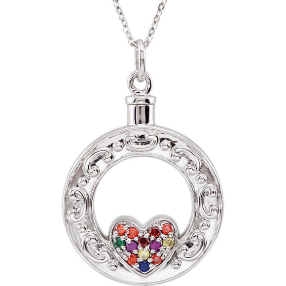 Sterling Silver Celebration of Life Heart Ash Holder with CZ Double Sided