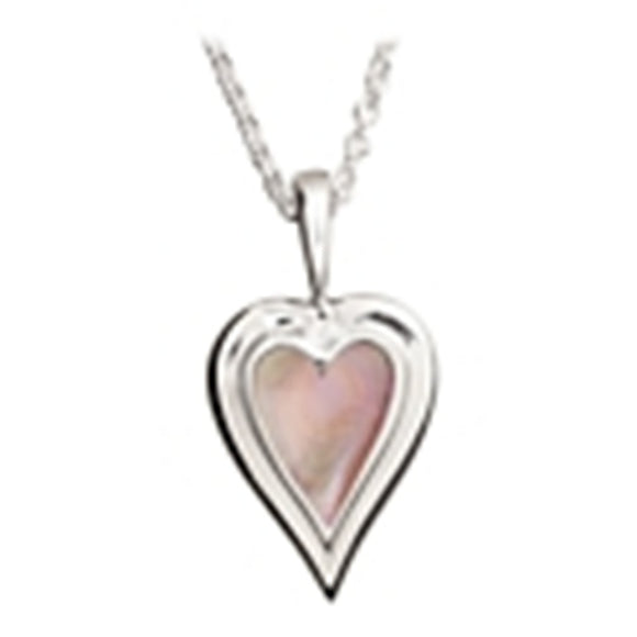 Sterling Silver Kabana Pink Heart Mother Of Pearl Necklace with Chain