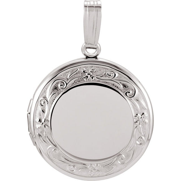 Sterling Silver Round Family Locket With Floral Design 18.5MM [Jewelry]