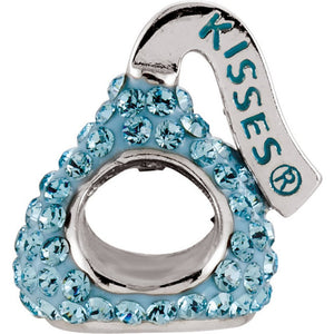 Sterling Silver HERSHEY'S KISSES 3D Light Blue Swarovski Crystal Bead Charm