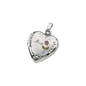 Sterling Silver Tri Color Mom Heart Shaped Locket With Pink Rose