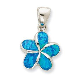 Sterling Silver 925 Inlayed Synthetic Blue Opal Hawaiian Plumeria Flower Pendant