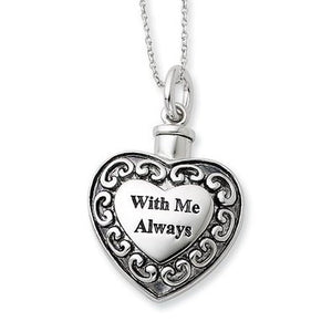 Sterling Silver 925 Heart Shaped With Me Always Cremation Ash Holder Pendant