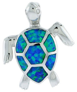 Sterling Silver 925 Inlay lab Fire Opal Turtle Pendant [Jewelry]