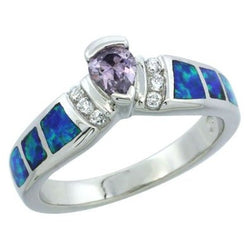 Sterling Silver 925 Synthetic Opal Ring, w/ Teardrop purple and White CZ Size 6