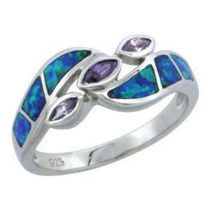 Sterling Silver Synthetic Opal Ring with 3 Purple Marquise CZs