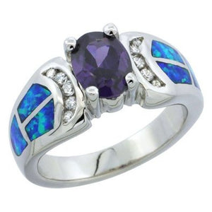 Sterling Silver Synthetic Opal Inlay Ring with Oval purple CZ and White CZ