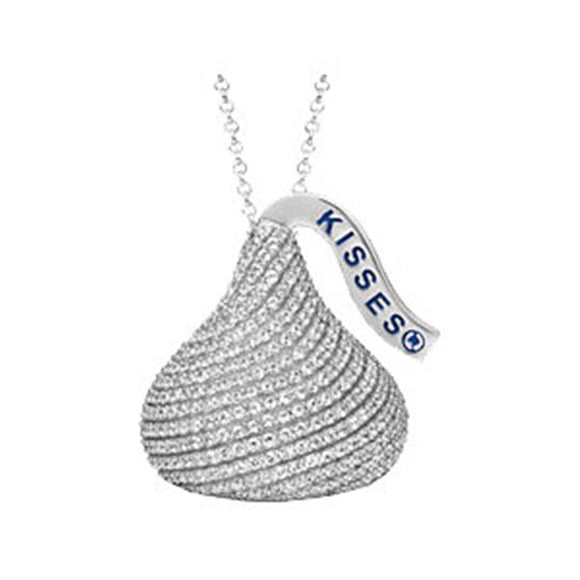 Sterling Silver 925 HERSHEY'S KISSES CZ Necklace With Sterling Silver Chain