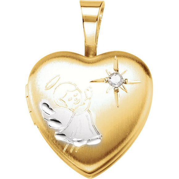 Gold Plated & Sterling Silver Heart Angel Locket with Diamond [Jewelry]