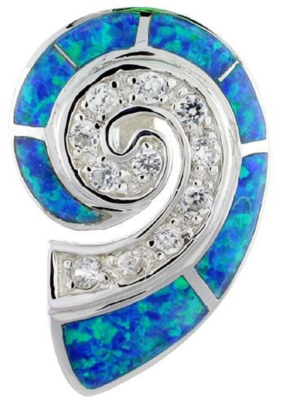 Sterling Silver Snail Shape Slide Pendant Synthetic Opal Inlay w/ CZ stones