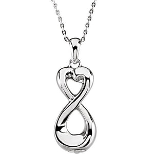 Sterling Silver 925 Infinite Love Ash Holder Pendant with Chain