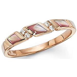 Kabana Rose Gold Pink Mother of Pearl and Diamond Ring Size 7