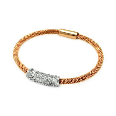 Sterling Silver 925 Yellow Gold Plated Bangle Mesh Bracelet With CZ and Magne...