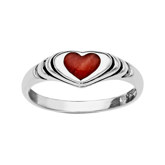 Kabana Sterling Silver Red Mother of Pearl Heart Ring