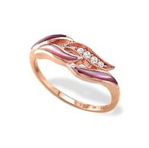 14K Rose Gold Kabana Ring with Pink Mother of Pearl and Diamonds