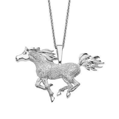 Sterling Silver Kabana Horse Pendant with Diamond Finish