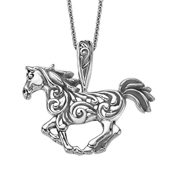Kabana Sterling Silver Fancy Scroll Running Horse Pendant
