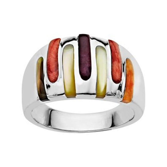 Sterling Silver Kabana Multi Color Mother of Pearl Ring
