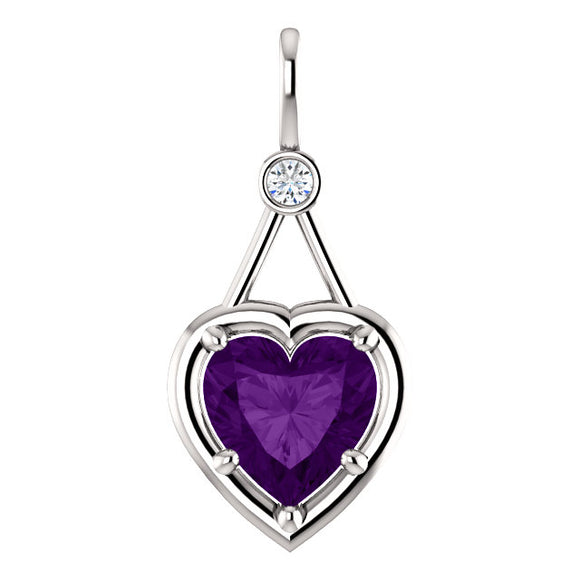14K White Gold Heart Shaped Amethyst Diamond Pendant