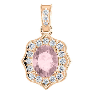 14K Rose Gold Vintage Inspired Diamond and Oval Morganite Pendant