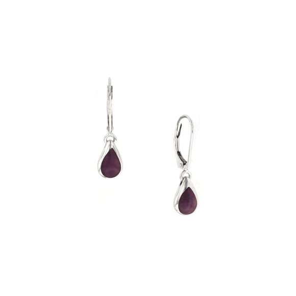 Kabana Sterling Silver Purple Spiny Oyster Drop Earrings