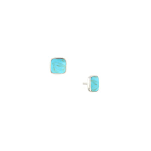 Kabana Sterling Silver Turquoise Square Stud Earrings
