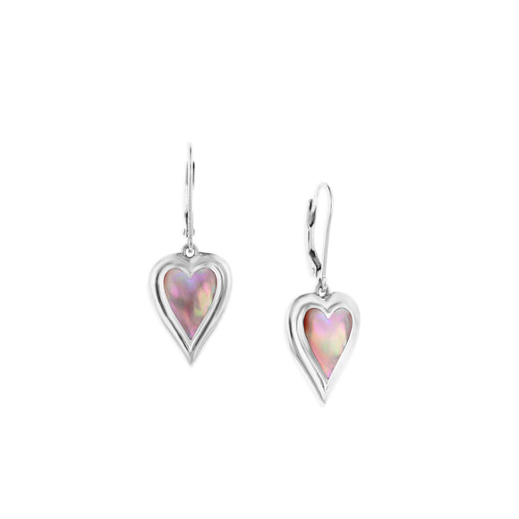Sterling Silver 925 Inlayed Pink Mother of Pearl Kabana Heart Dangle Earrings