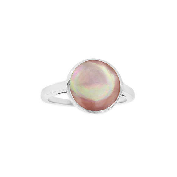 Kabana Sterling Silver Pink Mother of Pearl Round Ring Size 7