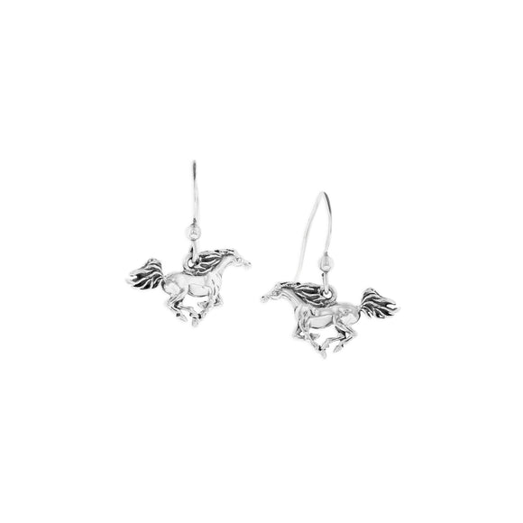 Sterling Silver Trotting Horse Dangle Earrings
