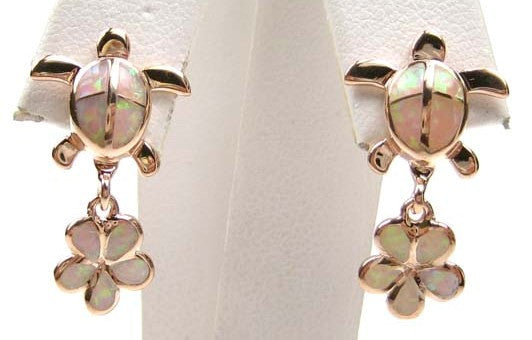 Sterling Silver 925 Rose Gold Plated Pink Synethic Opal Turtle and Hawaiian F...