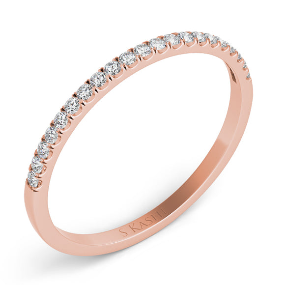 14K Rose Gold Stackable Diamond Anniversary Wedding Band