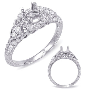 14K White Gold Engagement Diamond Semi Mounting