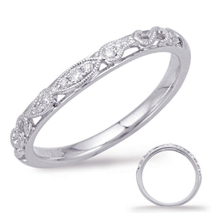 14K White Gold Vintage-Inspired Milgrain Diamond Anniversary Wedding Band