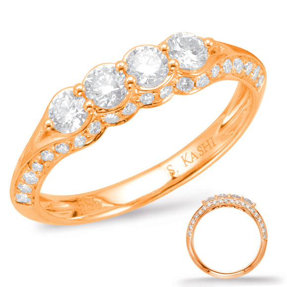 14K Rose Gold Wedding Diamond Band .79CTW