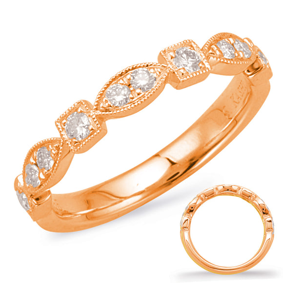 14K Rose Gold Ladies' Vintage Inspired Stackable Diamond Wedding Band