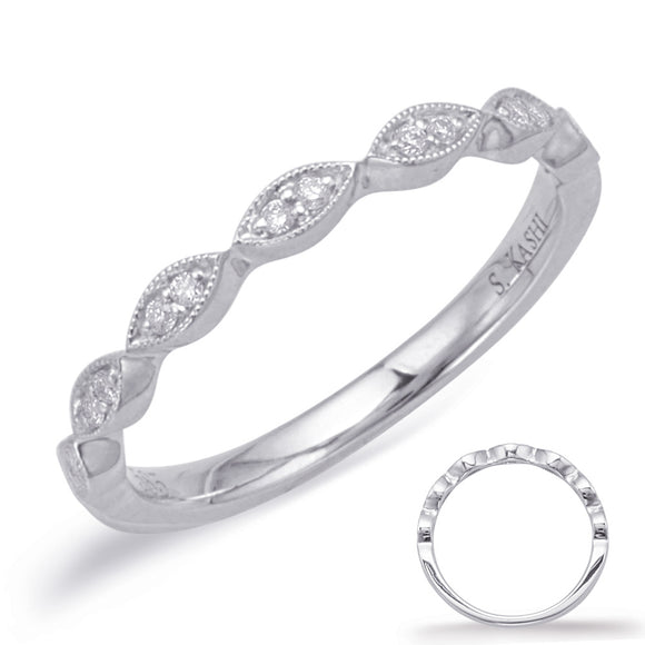 14k White Gold Vintage-Inspired Diamond Anniversary Wedding Band